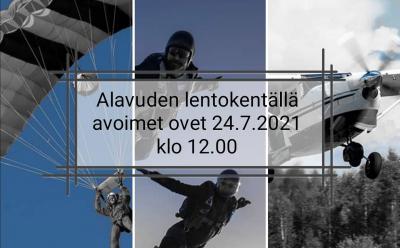 Avoimet ovet -tapahtuma Alavuden lentokentällä 24.7.2021 klo 12-16