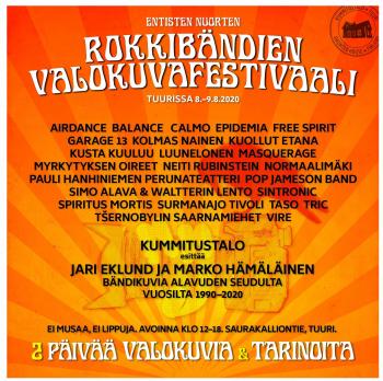 Entisten Nuorten Rokkibändien Valokuvafestivaali 8.-9.8.2020 Tuurissa Kummitustalolla.