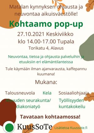 Kohtaamo PopUp -tapahtuma keskiviikkona 27.10.2021 klo 14-17 Alavudella Tupalassa